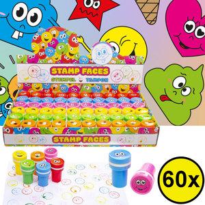 Decopatent Decopatent® Uitdeelcadeaus 60 STUKS Vrolijke Smiley Stempels - Traktatie Uitdeelcadeautjes voor kinderen - Speelgoed Traktaties