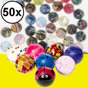 Decopatent Decopatent® Uitdeelcadeaus 50 STUKS MIX Vrolijke Stuiterballen Ø3.2 Cm - Traktatie Uitdeelcadeautjes voor kinderen - Klein Speelgoed