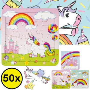 Decopatent Decopatent® Uitdeelcadeaus 50 STUKS Unicorn / Eenhoorn Puzzels - Traktatie Uitdeelcadeautjes voor kinderen - Speelgoed Traktaties