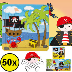 Decopatent Decopatent® Uitdeelcadeaus 50 STUKS Piraat / Piraten Puzzels - Traktatie Uitdeelcadeautjes voor kinderen - Speelgoed Traktaties
