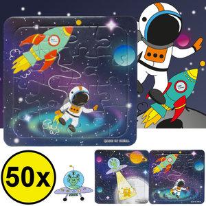 Decopatent Decopatent® Uitdeelcadeaus 50 STUKS Space / Ruimte Puzzels - Traktatie Uitdeelcadeautjes voor kinderen - Speelgoed Traktaties