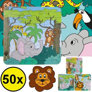 Decopatent Decopatent® Uitdeelcadeaus 50 STUKS Jungle Dieren Puzzels - Traktatie Uitdeelcadeautjes voor kinderen - Speelgoed Traktaties