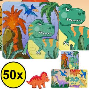 Decopatent Decopatent® Uitdeelcadeaus 50 STUKS Dinosaurus / Dino Puzzels - Traktatie Uitdeelcadeautjes voor kinderen - Speelgoed Traktaties