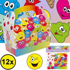 Decopatent Decopatent® Uitdeelcadeaus 12 STUKS Smiley Traktatie / Uitdeel Doosjes - Voor Traktatie Uitdeelcadeautjes voor kinderen - Menubox
