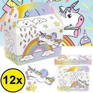 Decopatent Decopatent® Uitdeelcadeaus 12 STUKS Unicorn Traktatie / Uitdeel Doosjes - Voor Traktatie Uitdeelcadeautjes voor kinderen - Menubox