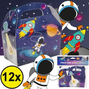 Decopatent Decopatent® Uitdeelcadeaus 12 STUKS Space Traktatie / Uitdeel Doosjes - Voor Traktatie Uitdeelcadeautjes voor kinderen - Menubox