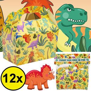 Decopatent Decopatent® Uitdeelcadeaus 12 STUKS Dinosaurus Traktatie / Uitdeel Doosjes - Voor Traktatie Uitdeelcadeautjes voor kinderen - Menubox