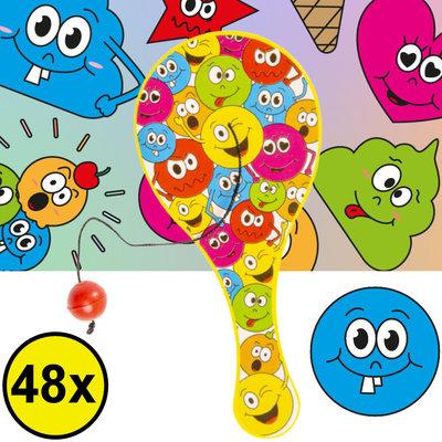 Decopatent Decopatent® Uitdeelcadeaus 48 STUKS Smiley Paddle Bat Bal Spel met Elastiek - Speelgoed Traktatie Uitdeelcadeautjes voor kinderen