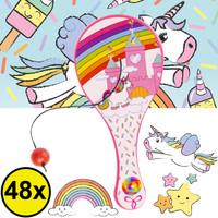 Decopatent Decopatent® Uitdeelcadeaus 48 STUKS Unicorn Paddle Bat Bal Spel met Elastiek - Speelgoed Traktatie Uitdeelcadeautjes voor kinderen