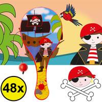 Decopatent Decopatent® Uitdeelcadeaus 48 STUKS Piraten Paddle Bat Bal Spel met Elastiek - Speelgoed Traktatie Uitdeelcadeautjes voor kinderen