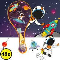 Decopatent Decopatent® Uitdeelcadeaus 48 STUKS Space Paddle Bat Bal Spel met Elastiek - Speelgoed Traktatie Uitdeelcadeautjes voor kinderen
