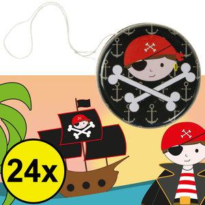 Decopatent Decopatent® Uitdeelcadeaus 24 STUKS Metalen Piraten Yoyo's - Jojo's Metaal - Traktatie Uitdeelcadeautjes voor kinderen - Speelgoed