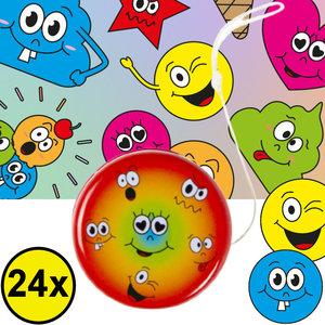 Decopatent Decopatent® Uitdeelcadeaus 24 STUKS Metalen Smiley Yoyo's - Jojo's Metaal - Traktatie Uitdeelcadeautjes voor kinderen - Speelgoed