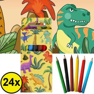 Decopatent Decopatent® Uitdeelcadeaus 24 STUKS 6-Delige Dinosaurus Kleurpotloodjes - Traktatie Uitdeelcadeautjes voor kinderen - Speelgoed