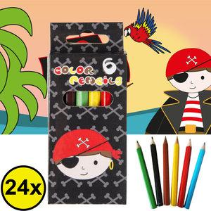 Decopatent Decopatent® Uitdeelcadeaus 24 STUKS 6-Delige Piraten Kleurpotloodjes - Traktatie Uitdeelcadeautjes voor kinderen - Klein Speelgoed