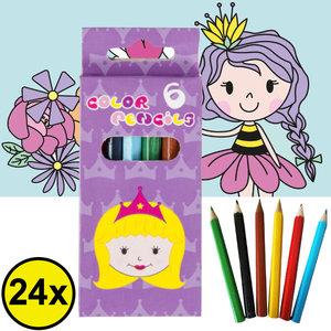 Decopatent Decopatent® Uitdeelcadeaus 24 STUKS 6-Delige Prinsessen Kleurpotloodjes - Traktatie Uitdeelcadeautjes voor kinderen - Klein Speelgoed