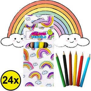 Decopatent Decopatent® Uitdeelcadeaus 24 STUKS 6-Delige Regenboog Kleurpotloodjes - Traktatie Uitdeelcadeautjes voor kinderen - Klein Speelgoed