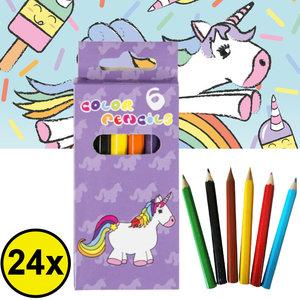 Decopatent Decopatent® Uitdeelcadeaus 24 STUKS 6-Delige Unicorn Kleurpotloodjes - Traktatie Uitdeelcadeautjes voor kinderen - Klein Speelgoed