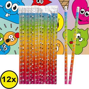 Decopatent Decopatent® Uitdeelcadeaus 12 STUKS Smiley Potloden - Traktatie Uitdeelcadeautjes voor kinderen - Klein Speelgoed Traktaties