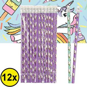 Decopatent Decopatent® Uitdeelcadeaus 12 STUKS Unicorn Potloden - Traktatie Uitdeelcadeautjes voor kinderen - Klein Speelgoed Traktaties