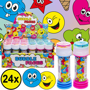 Decopatent Decopatent® Uitdeelcadeaus 24 STUKS Vrolijke Smiley Bellenblaas - Traktatie Uitdeelcadeautjes voor kinderen - Klein Speelgoed