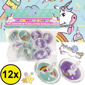 Decopatent Decopatent® Uitdeelcadeaus 12 STUKS Unicorn / Eenhoorn Tollen - Traktatie Uitdeelcadeautjes voor kinderen - Speelgoed Traktaties