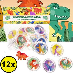 Decopatent Decopatent® Uitdeelcadeaus 12 STUKS Dinosaurus Tollen - Traktatie Uitdeelcadeautjes voor kinderen - Klein Speelgoed Traktaties tol