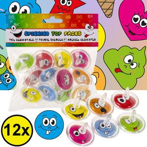Decopatent Decopatent® Uitdeelcadeaus 12 STUKS Smiley Tollen - Traktatie Uitdeelcadeautjes voor kinderen - Klein Speelgoed Traktaties tol