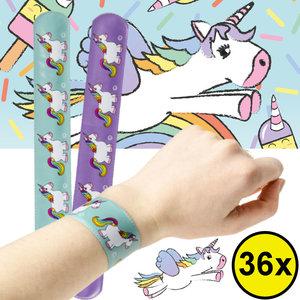 Decopatent Decopatent® Uitdeelcadeaus 36 STUKS Unicorn Klaparmbandjes - Traktatie Uitdeelcadeautjes voor kinderen - Klein Speelgoed Traktaties