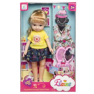 """Decopatent Speelgoed Pop """"ELAINE"""" met extra Jurk en accessoires - Tienerpop - Babypop - Pop voor Meisjes - Afm Doos: 22X36X9 Cm."""