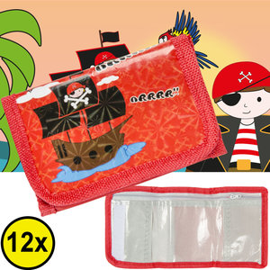 Decopatent Decopatent® Uitdeelcadeaus 12 STUKS Piraat Kinder Portomonnees  - Piraten Portomonai - Speelgoed Traktatie Uitdeelcadeautjes voor kinderen