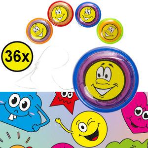 Decopatent Decopatent® Uitdeelcadeaus 36 STUKS Vrolijke Smiley Yoyo's - Jojo's - Traktatie Uitdeelcadeautjes voor kinderen - Speelgoed