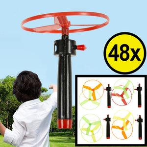 Decopatent Decopatent® Uitdeelcadeaus 48 STUKS Vliegende Schotels - Afschiet propeller - Speelgoed Traktatie Uitdeelcadeautjes voor kinderen
