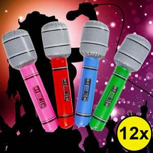 Decopatent Decopatent® Uitdeelcadeaus 12 STUKS Mix kleuren Opblaasbare Microfoon - Speelgoed Traktatie Uitdeelcadeautjes voor kinderen