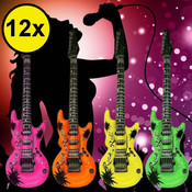 Decopatent Decopatent® Uitdeelcadeaus 12 STUKS Mix kleuren Opblaasbare Gitaren - Gitaar - Speelgoed Traktatie Uitdeelcadeautjes voor kinderen