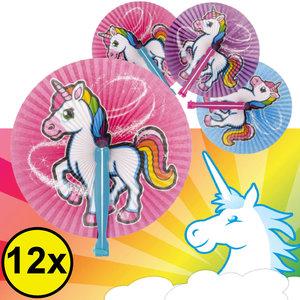 Decopatent Decopatent® Uitdeelcadeaus 12 STUKS Unicorn / Eenhoorn Hand Waaier - Handwaaier - Speelgoed Traktatie Uitdeelcadeautjes voor kinderen