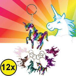 Decopatent Decopatent® Uitdeelcadeaus 12 STUKS Unicorn / Eenhoorn Sleutelhangers met Pailletjes - Speelgoed Traktatie Uitdeelcadeautjes voor kinderen