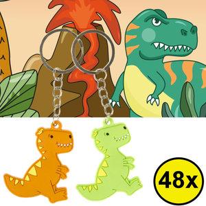 Decopatent Decopatent® Uitdeelcadeaus 48 STUKS Dinosaurus Sleutelhangers - Dino - Speelgoed Traktatie Uitdeelcadeautjes voor kinderen