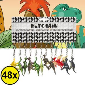 Decopatent Decopatent® Uitdeelcadeaus 48 STUKS Dinosaurus 3D Sleutelhangers - Dino - Speelgoed Traktatie Uitdeelcadeautjes voor kinderen