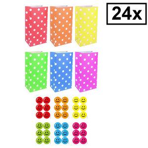 Decopatent Decopatent® 24 STUKS Traktatie Uitdeel papieren zakjes - Inclusief Stickers - Mix Kleuren Traktatiezakjes voor uitdeelcadeautjes