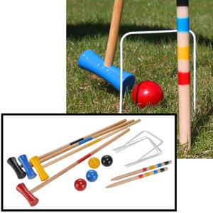 Decopatent Decopatent® Houten Familie Croquet Outdoor Speelset - Croquetspel Set voor 4 spelers - 17-delig