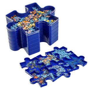 Decopatent Decopatent® Puzzel sorteerbakjes - 6 Vaks - Puzzel sorteer bakjes - Stapelbaar - Puzzle Puzzelstukjes Bakjes - 21,5 x 16,5 x 10,8 Cm