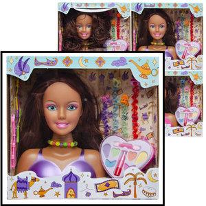 Decopatent Decopatent® Speelgoed Kaphoofd - Sminkpop met make up voor Kinderen - Makeup pop - Kappop - Schminkpop voor Meisjes - Opmaakpop / Kapkop met haar accessoires en make-up
