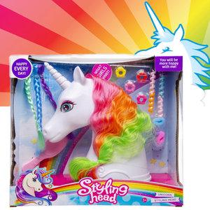 Decopatent Decopatent® Speelgoed Unicorn Kaphoofd - Sminkpop met make up voor Kinderen - Makeup pop - Eenhoorn - Schminkpop voor Meisjes - Opmaakpop / Kapkop met haar accessoires en make-up
