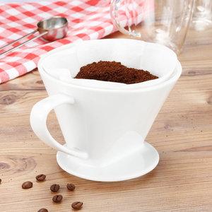 Decopatent Decopatent® Koffiefilter Porselein - Maat 4 - Koffie filter porselein - Koffiefilter permanent - Koffiefilterhouder - Verse Koffie