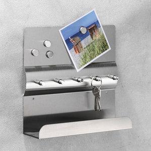Decopatent Decopatent® Magnetisch Sleutelrek - RVS - Sleutelkastje voor binnen - Wand Sleutelrek voor 5 Sleutels - Muur Sleutelrekje - Magneetbord Inclusief 4 Magneten