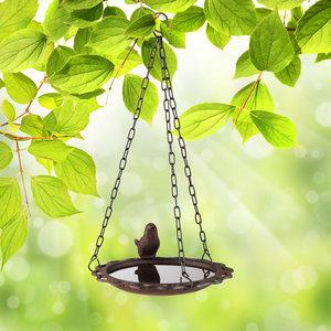 Decopatent Decopatent® Vogeldrinkschaal - Vogel Waterschaal - Gietijzeren - Vogelbad buiten - Hangende Vogelbadjes aan ketting.