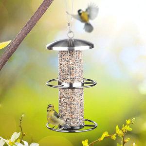 Decopatent Decopatent® Vogelvoederhuis - Vogelvoerstation - RVS - Hangende Vogels Voeder Silo met 2 zitringen - Vogelvoer voor Buitenvogels