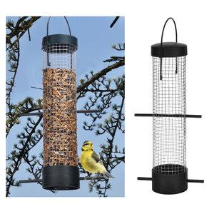 Decopatent Decopatent® Vogelvoederhuis - Vogelvoerstation - Kunststof - Hangende Vogels Voeder Silo met 2 zitstokken - Vogelvoer voor Buitenvogels