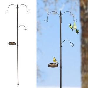 Decopatent Decopatent® Vogelvoerstation - Met 3 Vetbol haken en Voederbakje - RVS - Vogelvoer voor Buitenvogels - Staand Vogelvoederhuis op paal